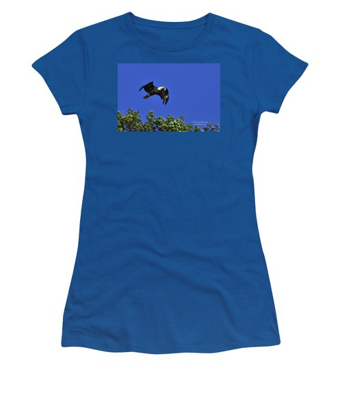 Women's T-Shirt (Junior Cut) featuring the photograph Eagle Over The Tree Top by Randall Branham