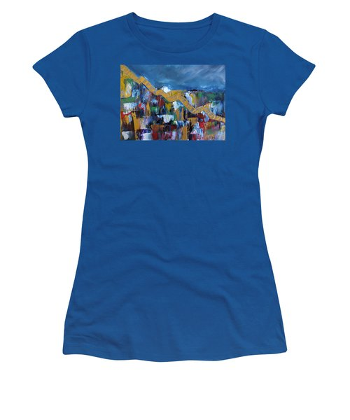 Women's T-Shirt (Junior Cut) featuring the painting Economic Meltdown by Judith Rhue