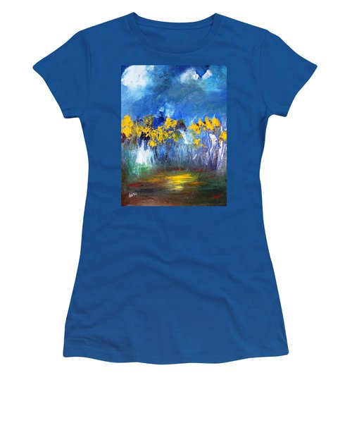 Women's T-Shirt (Junior Cut) featuring the painting Flowers Of Maze In Blue by Gary Smith