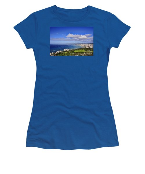 Honolulu From Diamond Head Women's T-Shirt (Athletic Fit)