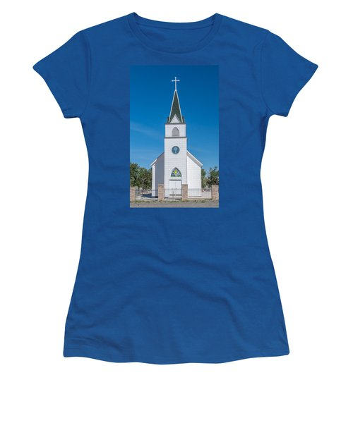Women's T-Shirt (Junior Cut) featuring the photograph St. John The Evangelist Catholic Church by Fran Riley