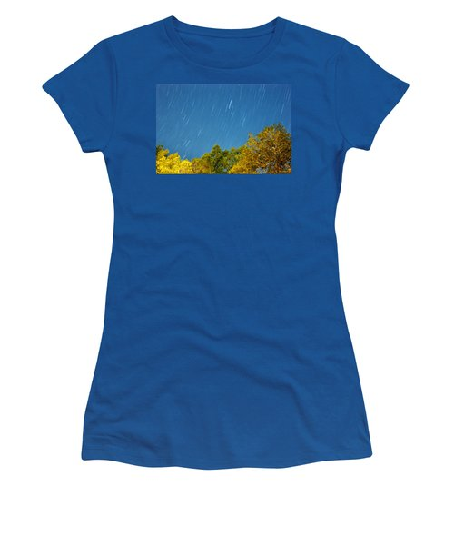 Star Trails On A Blue Sky Women's T-Shirt (Junior Cut) by Kay Lovingood