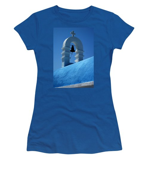 Women's T-Shirt (Junior Cut) featuring the photograph The Bell Tower In Mykonos by Vivian Christopher