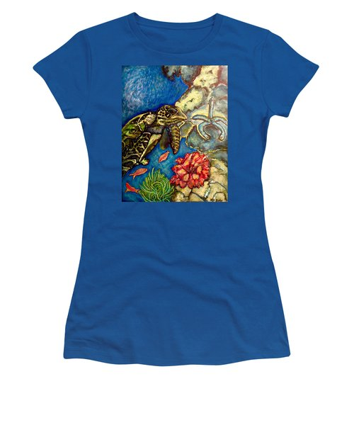 Women's T-Shirt (Junior Cut) featuring the painting  Sweet Mystery Of The Sea A Hawksbill Sea Turtle Coasting In The Coral Reefs Original by Kimberlee Baxter