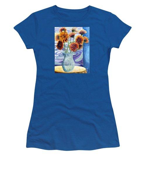 01305 Orange African Daisies Women's T-Shirt (Junior Cut) by AnneKarin Glass