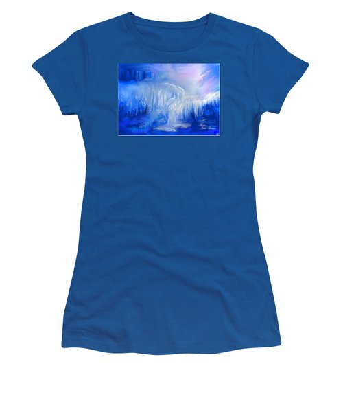 Women's T-Shirt (Junior Cut) featuring the painting Ice Falls by Sherri  Of Palm Springs