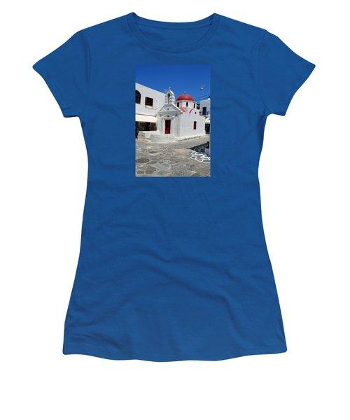Mykonos Red Chapel Women's T-Shirt (Junior Cut) by Robert Moss