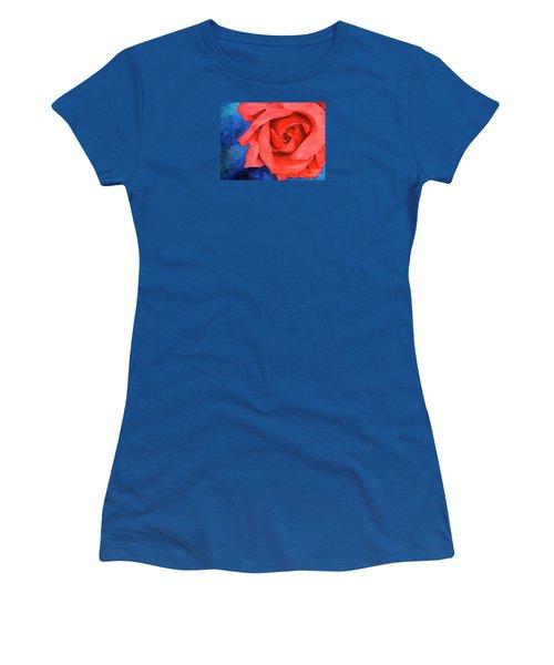 Red Rose Women's T-Shirt (Junior Cut) by Rebecca Davis