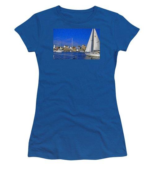Women's T-Shirt (Junior Cut) featuring the photograph Sailing Marina Del Rey Fisherman's Village by David Zanzinger