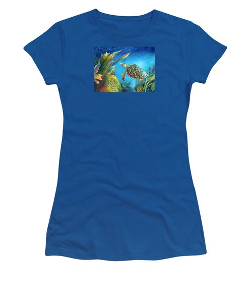 Sea Escape Iv - Hawksbill Turtle Flying Free Women's T-Shirt (Athletic Fit)