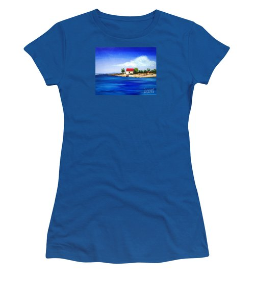 Sea Hill Boatshed - Original Sold Women's T-Shirt (Junior Cut) by Therese Alcorn