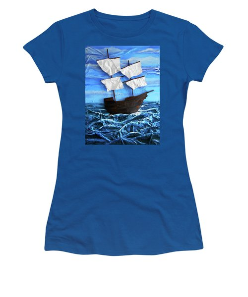 Women's T-Shirt (Junior Cut) featuring the mixed media Ship by Angela Stout