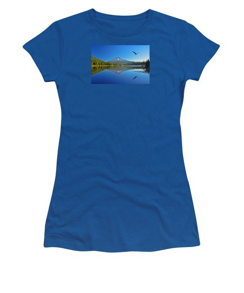 Women's T-Shirt (Junior Cut) featuring the photograph Soaring Bald Eagle by Jack Moskovita