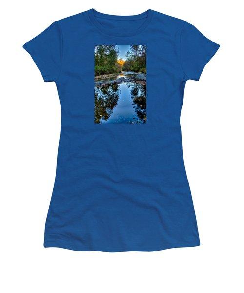 Stone Mountain North Carolina Scenery During Autumn Season Women's T-Shirt (Junior Cut) by Alex Grichenko