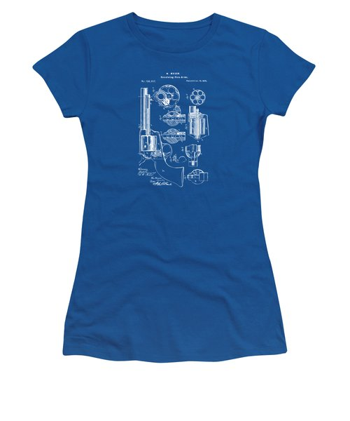 Women's T-Shirt (Junior Cut) featuring the drawing 1875 Colt Peacemaker Revolver Patent Blueprint by Nikki Marie Smith