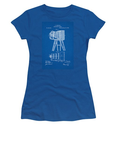 1885 Camera Us Patent Invention Drawing - Blueprint Women's T-Shirt