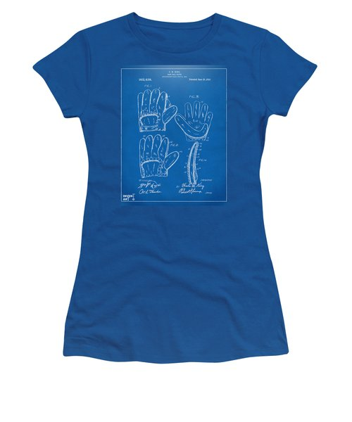 1910 Baseball Glove Patent Artwork Blueprint Women's T-Shirt (Junior Cut) by Nikki Marie Smith