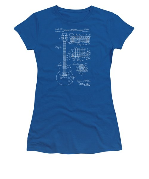 Women's T-Shirt (Junior Cut) featuring the drawing 1955 Mccarty Gibson Les Paul Guitar Patent Artwork Blueprint by Nikki Marie Smith