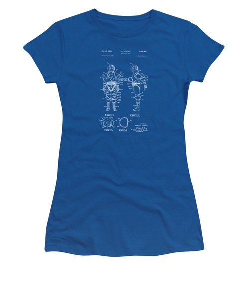 1968 Hard Space Suit Patent Artwork - Blueprint Women's T-Shirt (Junior Cut) by Nikki Marie Smith