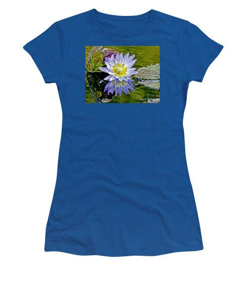 Purple Water Lily Pond Women's T-Shirt (Junior Cut) by Carol F Austin