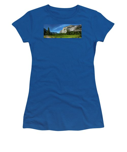 Yosemite Valley Meadow Panorama Women's T-Shirt (Athletic Fit)