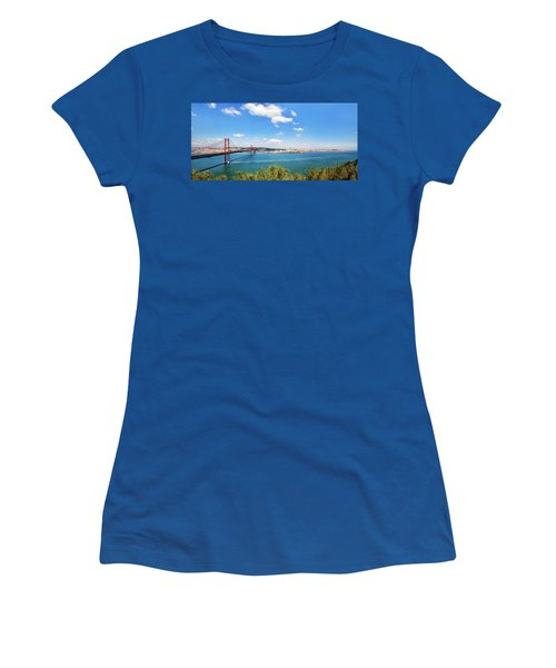 Women's T-Shirt (Junior Cut) featuring the photograph 25th April Bridge Lisbon by Marion McCristall