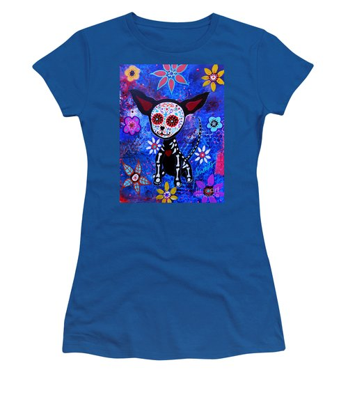 Chihuahua Day Of The Dead Women's T-Shirt (Junior Cut) by Pristine Cartera Turkus