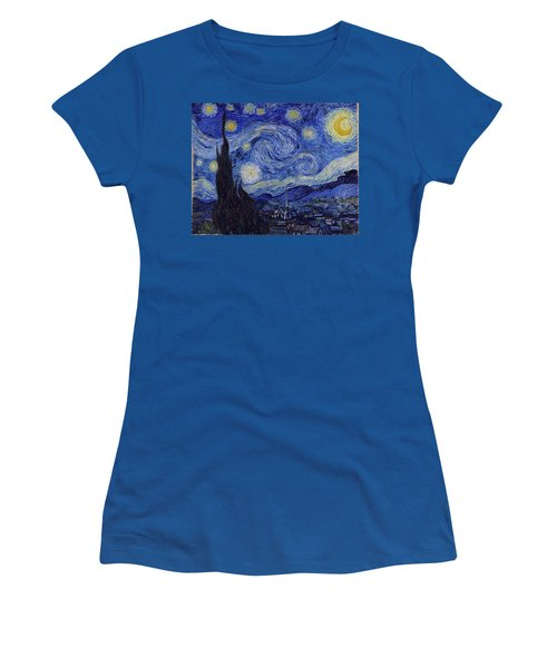 Women's T-Shirt featuring the painting Starry Night by Van Gogh