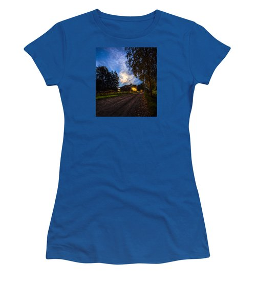 Women's T-Shirt (Junior Cut) featuring the painting A Peaceful Evening by Rose-Maries Pictures