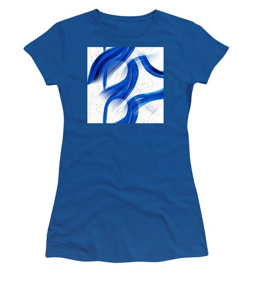 Abstract Acrylic Painting Blues Series 2 Women's T-Shirt (Junior Cut) by Saribelle Rodriguez