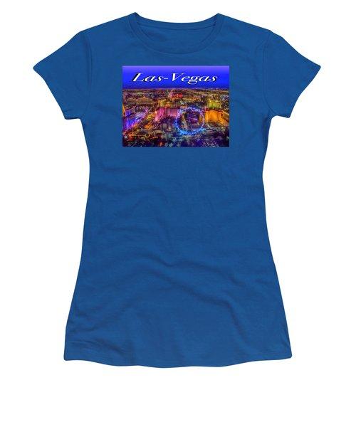 Aerial Las- Vegas Evening Women's T-Shirt (Athletic Fit)