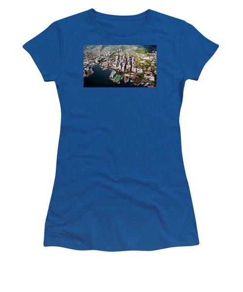 Aerial Panorama - Downtown - City Of Honolulu, Oahu, Hawaii  Women's T-Shirt