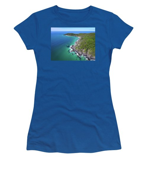 Women's T-Shirt (Athletic Fit) featuring the photograph Aerial View Of The Coastline In Noosa National Park by Keiran Lusk