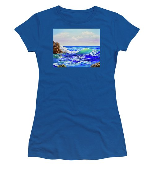 Women's T-Shirt featuring the painting Along The Coast by Mary Scott