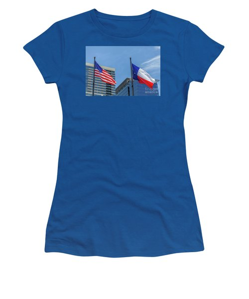 American And Texas Flag On Top Of The Pole Women's T-Shirt