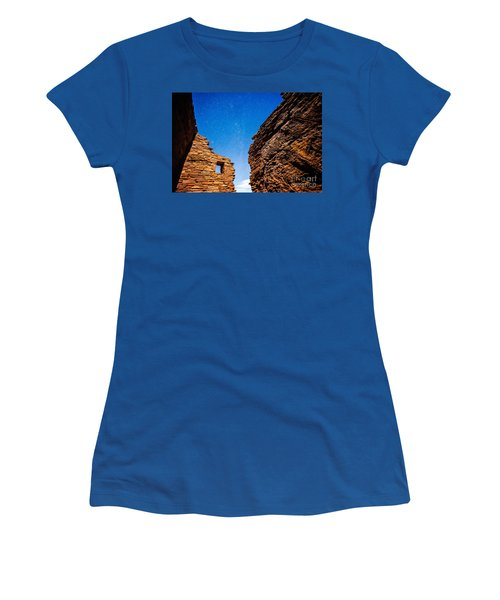 Ancient Native American Pueblo Ruins And Stars At Night Women's T-Shirt