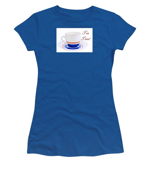 Antique Teacup From Japan With Tea Time Invitation Women's T-Shirt (Athletic Fit)