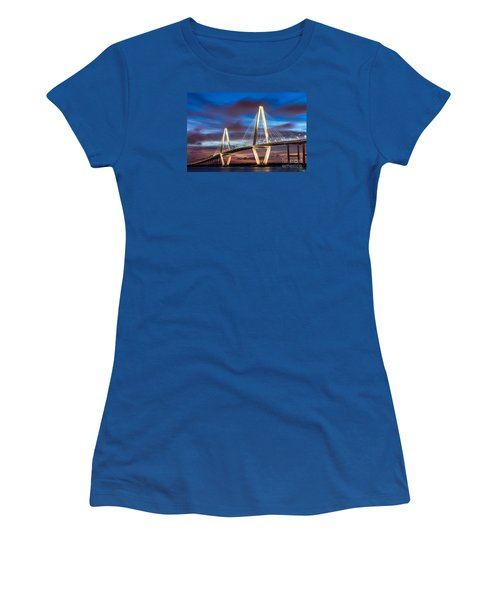 Arthur Ravenel Bridge At Night Women's T-Shirt (Athletic Fit)