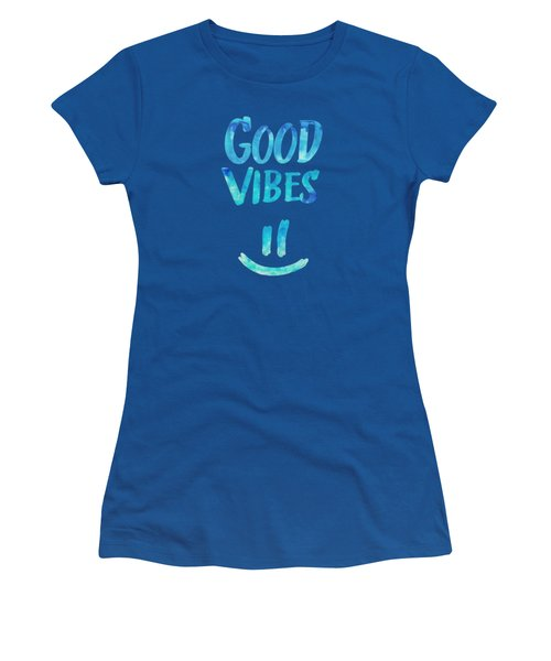 Good Vibes  Funny Smiley Statement Happy Face Blue Stars Edit Women's T-Shirt (Junior Cut) by Philipp Rietz
