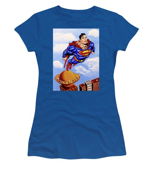 Women's T-Shirt (Junior Cut) featuring the painting Superman by Teresa Wing
