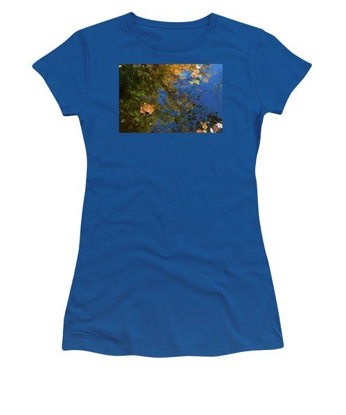 Women's T-Shirt (Athletic Fit) featuring the photograph Autumn Leaf Reflections by Lon Dittrick