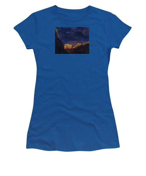 Women's T-Shirt (Junior Cut) featuring the mixed media Autumn Sunset Over Half Dome 2013 A by Walter Fahmy