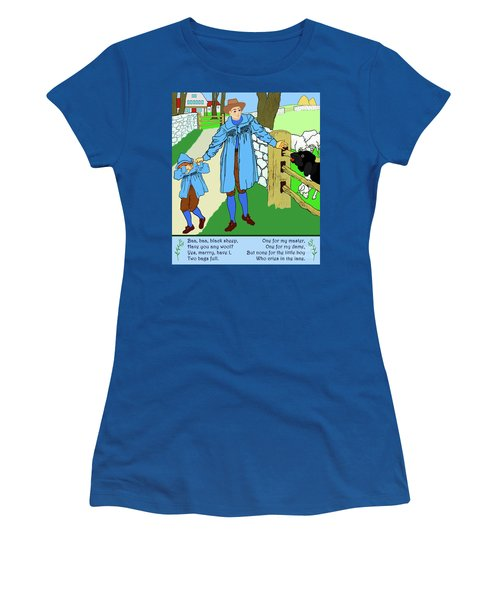 Baa, Baa, Black Sheep Nursery Rhyme Women's T-Shirt (Junior Cut) by Marian Cates