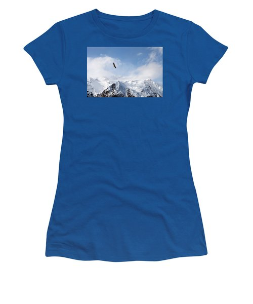 Bald Eagle Over Mountains Women's T-Shirt (Athletic Fit)