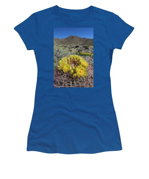 Women's T-Shirt (Junior Cut) featuring the photograph Barrel Cactus Super Bloom by Peter Tellone