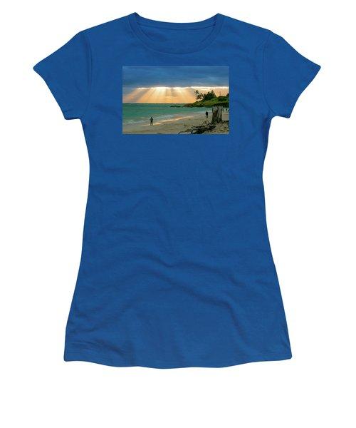 Beach Walk At Sunrise Women's T-Shirt (Junior Cut) by E Faithe Lester