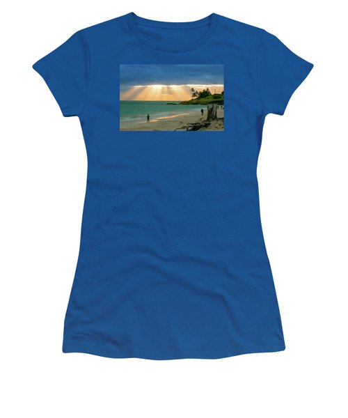 Beach Walk At Sunrise Women's T-Shirt (Athletic Fit)