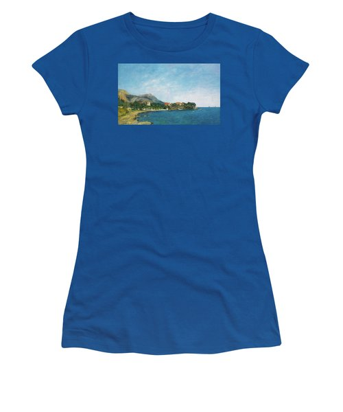 Women's T-Shirt (Junior Cut) featuring the painting Bealieu - The Bay Of Fourmis by Eugene Boudin