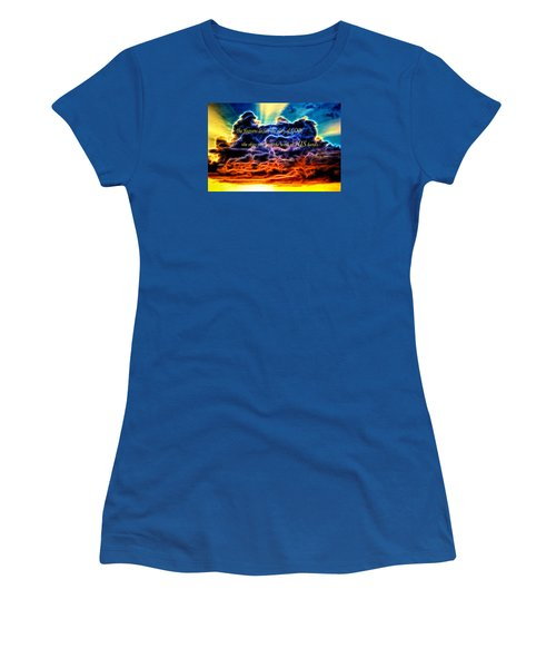 Women's T-Shirt (Junior Cut) featuring the photograph Biblical Electrified Cumulus Clouds Skyscape - Psalm 19 1 by Shelley Neff