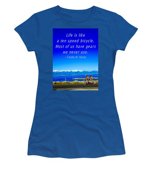 Bicycle Charles M Schulz Quote Women's T-Shirt (Athletic Fit)
